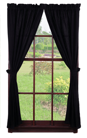 Soft Cotton Burlap Black Short Panel Window Curtains Pair - 72x63 total - 2 inch rod pocket