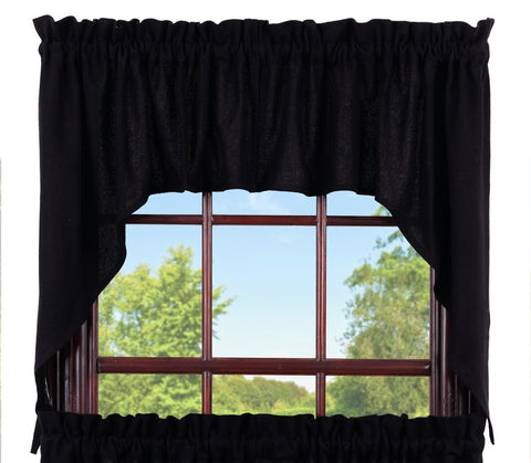 Soft Cotton Burlap Black Swag Set Window Curtains Pair - 72x36 total - 2 inch rod pocket