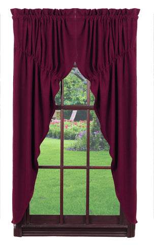 Soft Cotton Burlap Wine - Burgundy Prairie Curtain Set