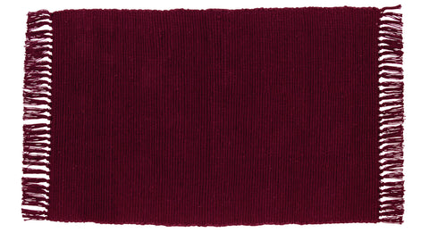Soft Cotton Burlap Wine - Burgundy Rectangle Rug