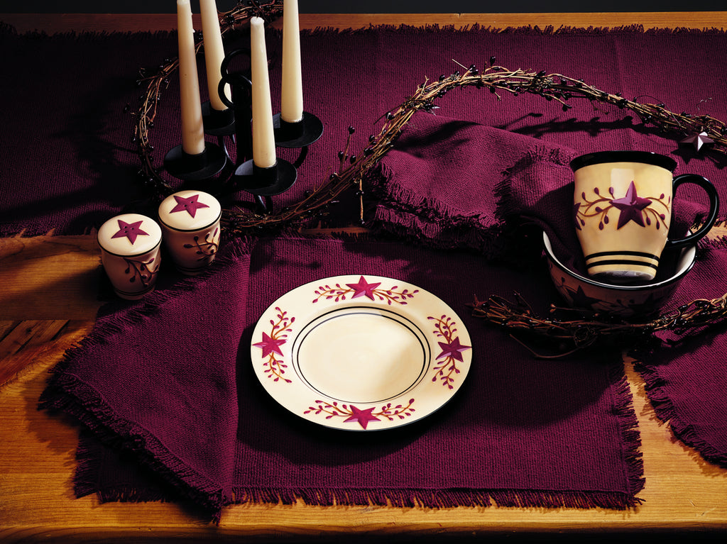 Soft Cotton Burlap Wine - Burgundy Short Table Runner