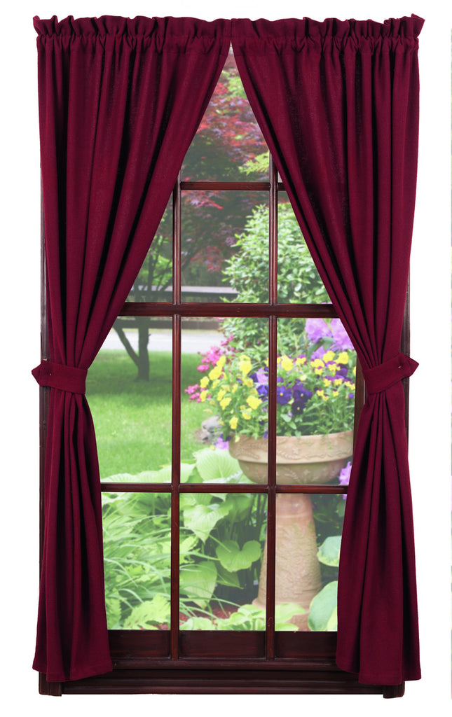 Soft Cotton Burlap Wine - Burgundy Short Panel Window Curtains Pair - 72x63 total - 2 inch rod pocket