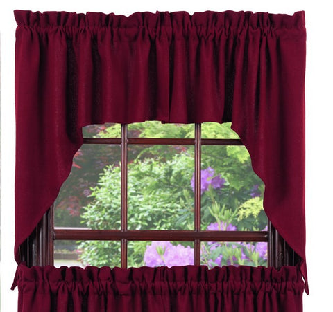 Soft Cotton Burlap Wine - Burgundy Swag Set Window Curtains Pair - 72x36 total - 2 inch rod pocket
