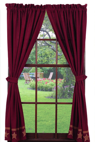 Soft Cotton Burlap Star Wine - Burgundy Panel Window Curtains Pair -72x84 total - 2 inch rod pocket