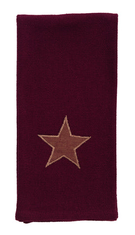 Soft Cotton Burlap Star Wine - Burgundy Dishtowel