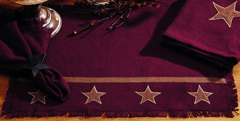 Soft Cotton Burlap Star Wine - Burgundy Placemat