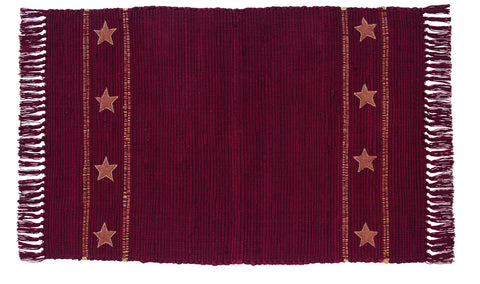 Soft Cotton Burlap Star Wine - Burgundy Rectangle Rug