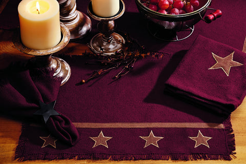 Soft Cotton Burlap Star Wine - Burgundy Long Table Runner