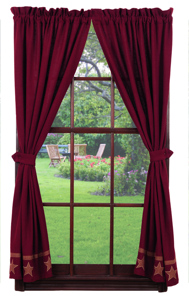 Soft Cotton Burlap Star Wine - Burgundy Short Panel Window Curtains Pair - 72x63 total - 2 inch rod pocket
