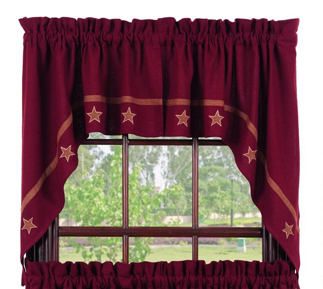 Soft Cotton Burlap Star Wine - Burgundy Swag Set Window Curtains Pair - 72x36 total - 2 inch rod pocket