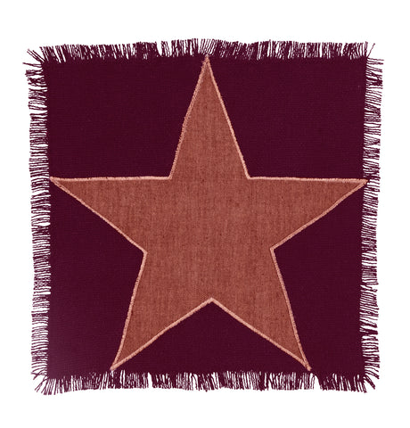 Soft Cotton Burlap Star Wine - Burgundy Tablemat
