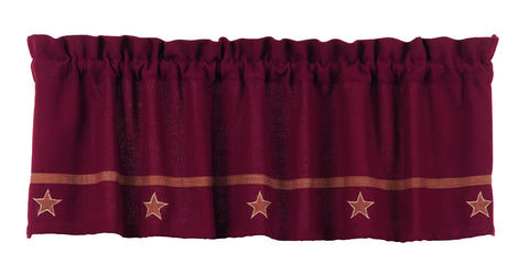 Soft Cotton Burlap Star Wine - Burgundy Valance