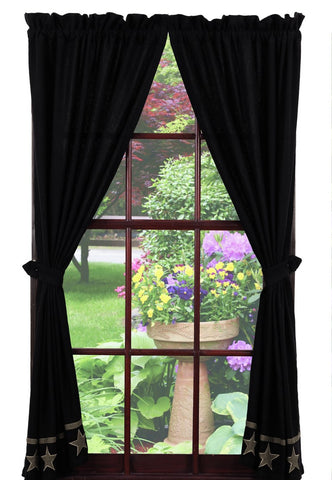 Soft Cotton Burlap Star Black Panel Window Curtains Pair -72x84 total - 2 inch rod pocket