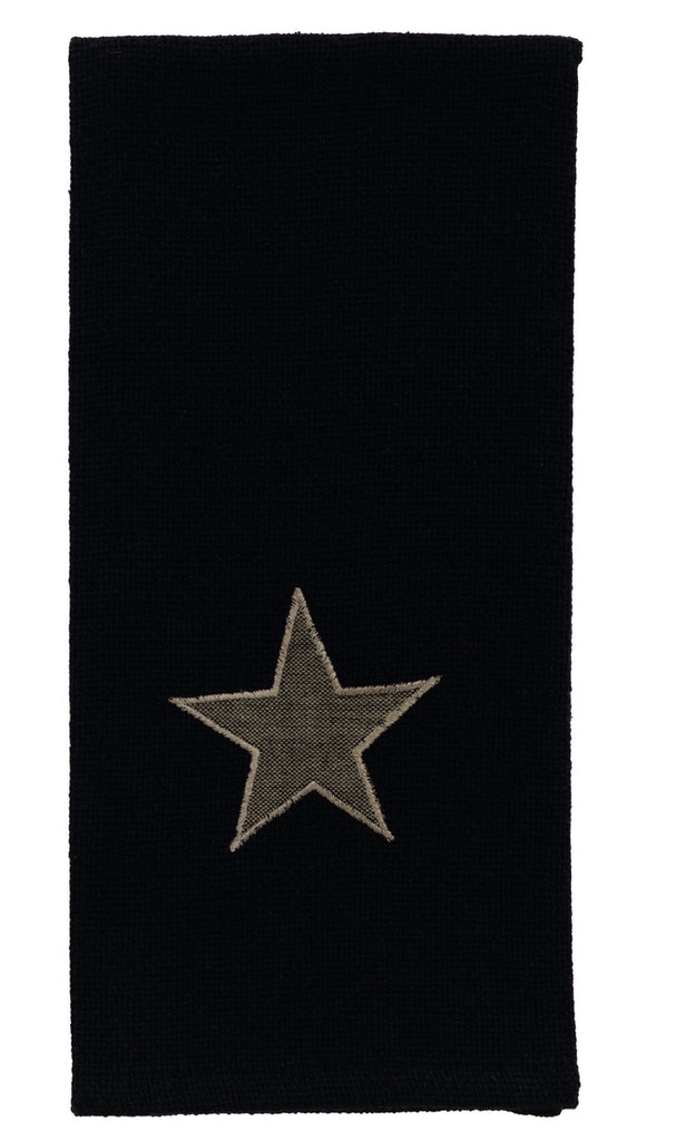 Burlap Star Black Dishtowel
