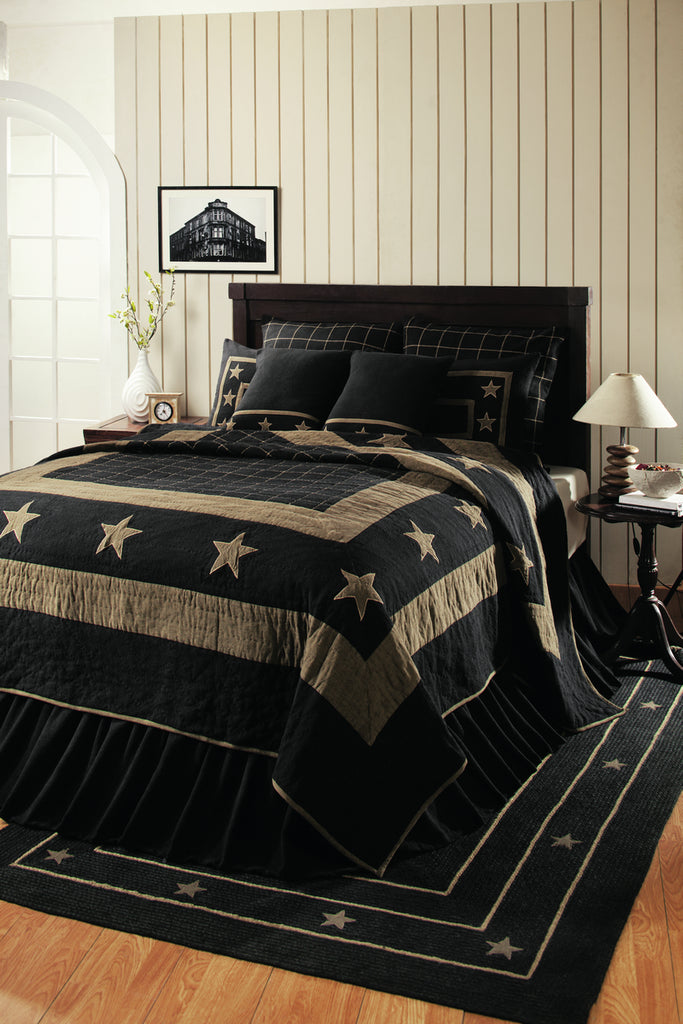 Soft Cotton Burlap Star Black King Quilt