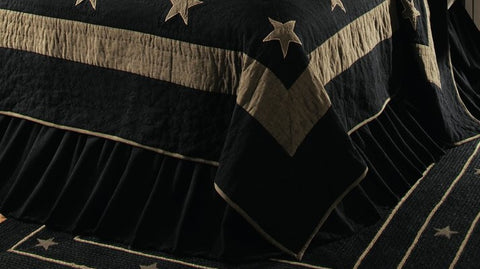Soft Cotton Burlap Star Black Queen Bed Skirt - BedSkirt