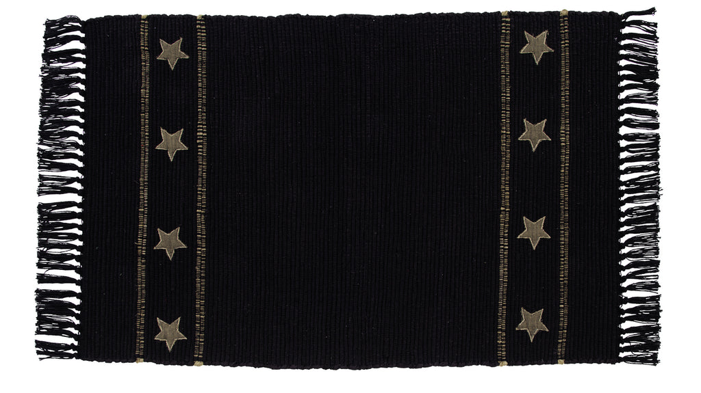 Soft Cotton Burlap Star Black Rectangle Rug