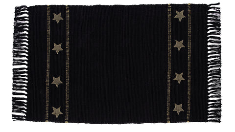 Burlap Star Black Rectangle Rug