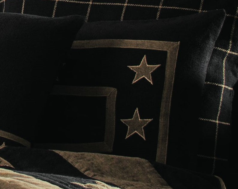 Burlap Star Black Sham
