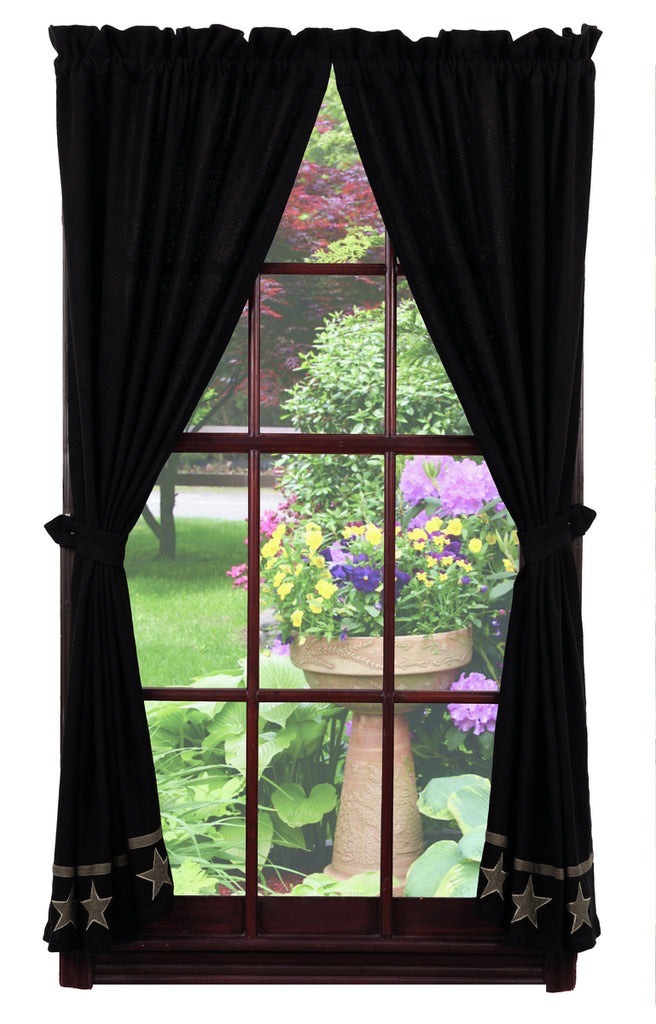 Soft Cotton Burlap Star Black Short Panel Window Curtains Pair - 72x63 total - 2 inch rod pocket