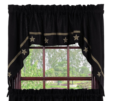 Soft Cotton Burlap Star Black Swag Set Window Curtains Pair - 72x36 total - 2 inch rod pocket