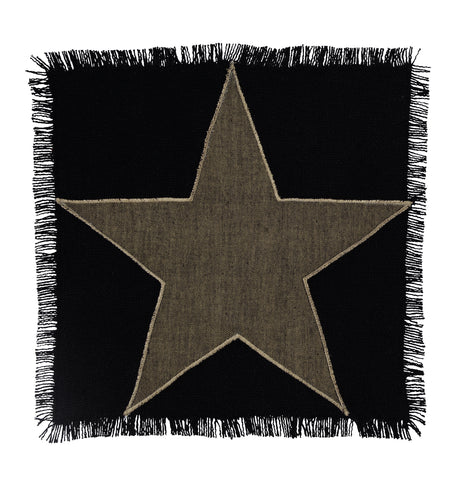 Soft Cotton Burlap Star Black Tablemat