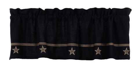 Soft Cotton Burlap Star Black Valance