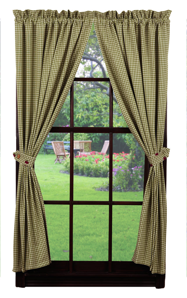 Apple Valley Short Panel Window Curtains Pair - 72x63 total - 2 inch rod pocket - 72x63 total