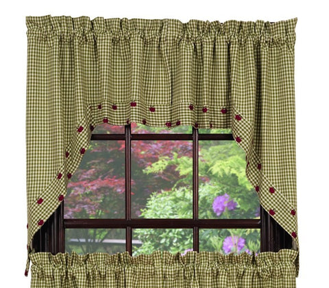 Apple Valley Swag Set Window Curtains Pair - 72x36 total - 2 inch rod pocket