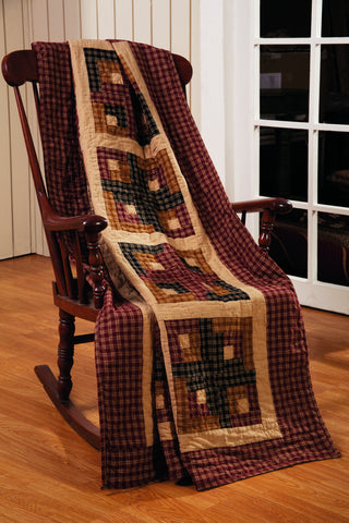 Cambridge Log Cabin Quilted Throw Blanket