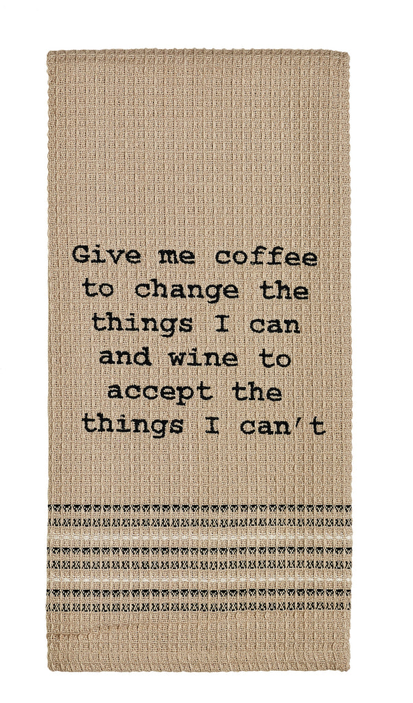 Give Me Coffee & Wine - Burgundy Dishtowel - Country Farmhouse Kitchen Funny Dish Towels