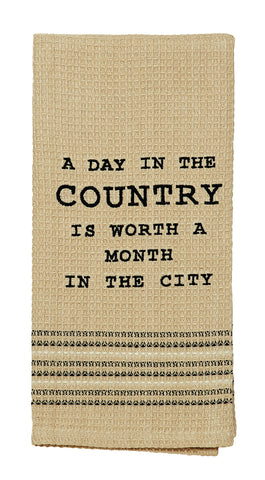 A Day In The Country Dishtowel - Country Farmhouse Kitchen Funny Dish Towels