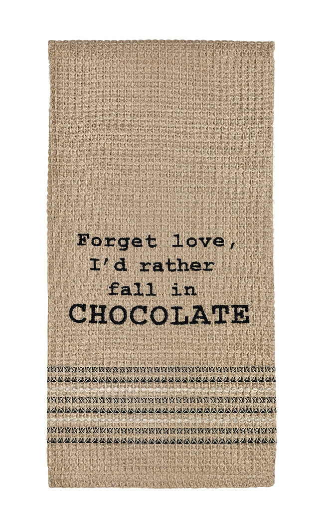Fall In Chocolate Dishtowel - Country Farmhouse Kitchen Funny Dish Towels