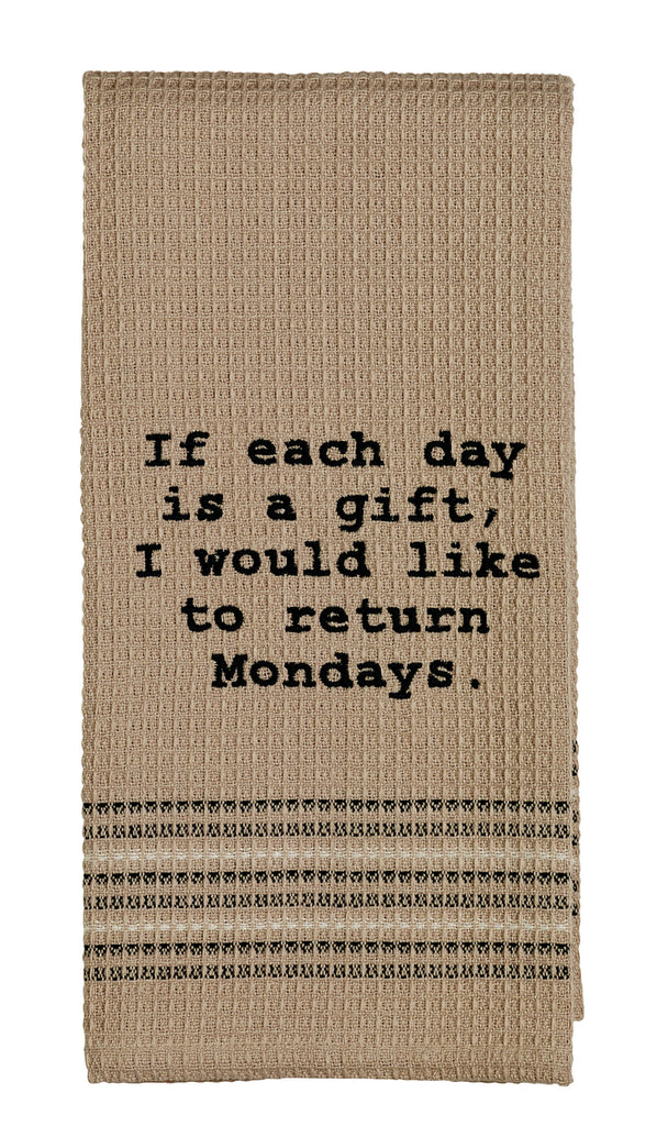 Like To Return Mondays Dishtowel - Country Farmhouse Kitchen Funny Dish Towels