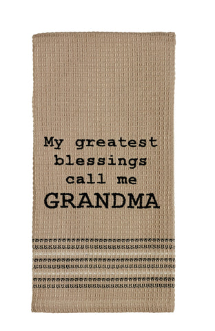 My Greatest Blessings Call Me Grandma Dishtowel - Country Farmhouse Kitchen Dish Towels