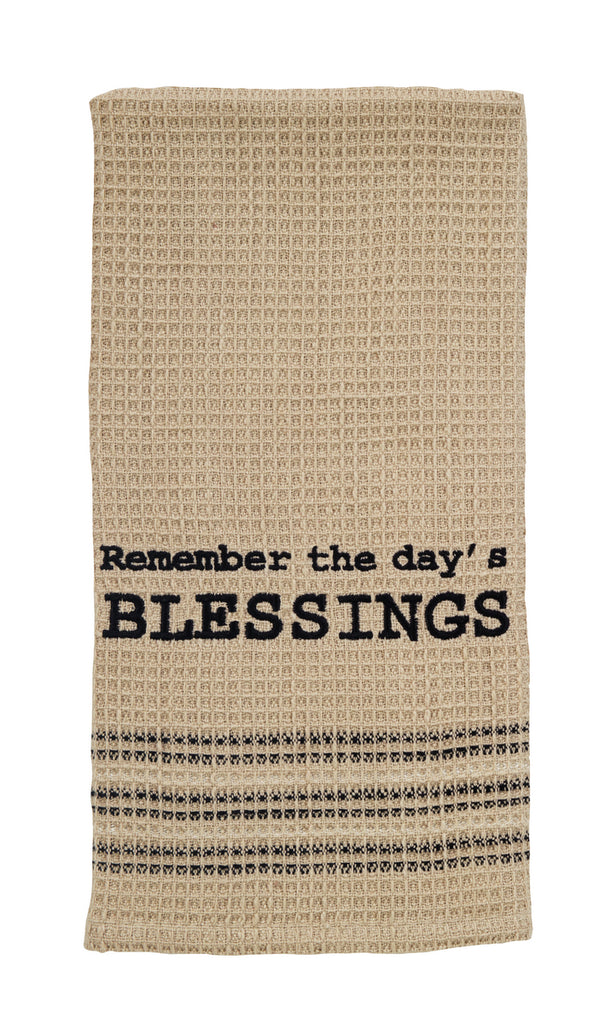 Remember The Day's Blessings Dishtowel - Country Farmhouse Kitchen Dish Towels