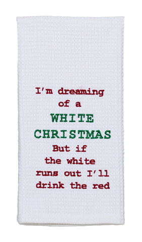 A White Christmas Dishtowel - Country Farmhouse Kitchen Dish Towels