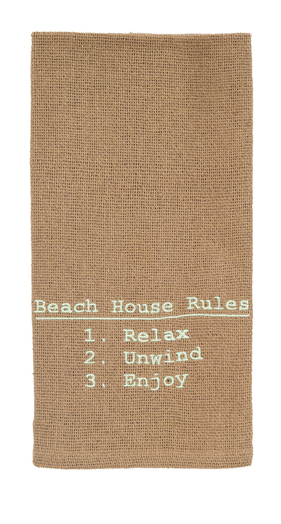 Beach House Rules Dishtowel -  Kitchen Funny Dish Towels