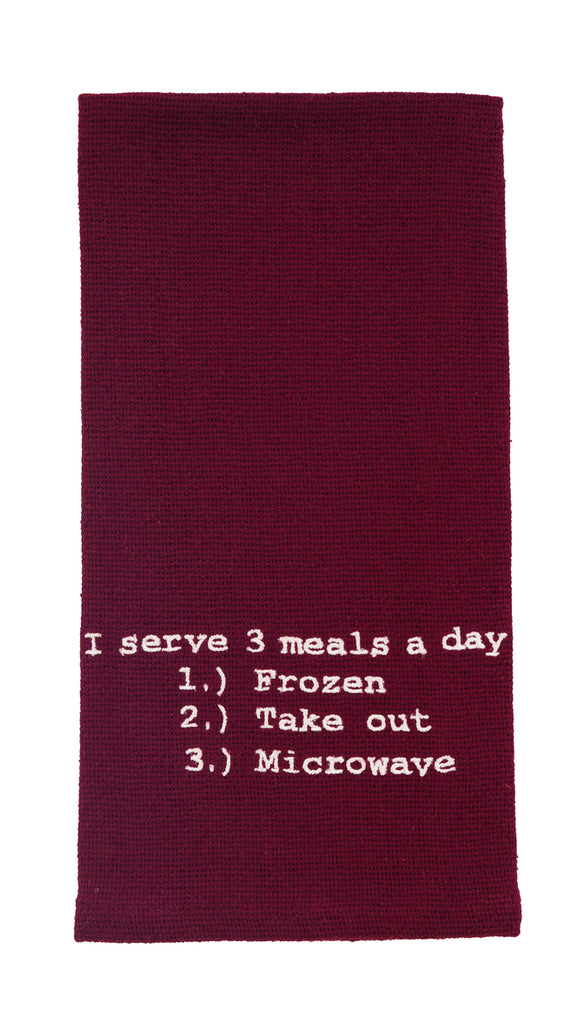 Three Meals A Day Dishtowel - Country Farmhouse Kitchen Funny Dish Towels