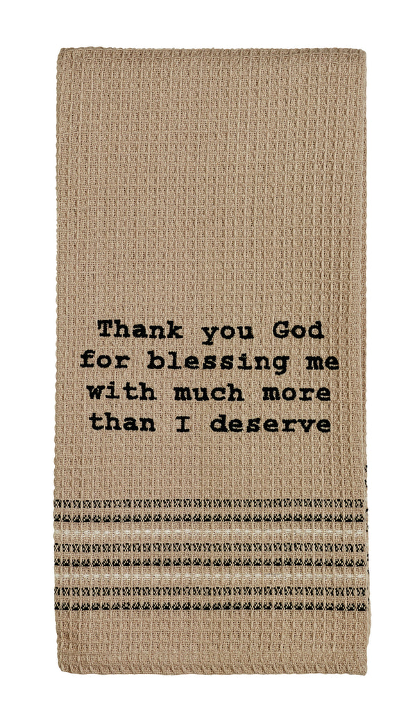 Thank You God Dishtowel - Country Farmhouse Kitchen Funny Dish Towels