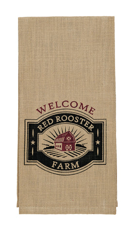 Red Rooster Farm Welcome Dishtowel - Country Farmhouse Kitchen Dish Towels