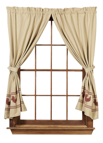 Red Rooster Short Panel Window Curtains Pair - 72x63 total - 2 inch rod pocket