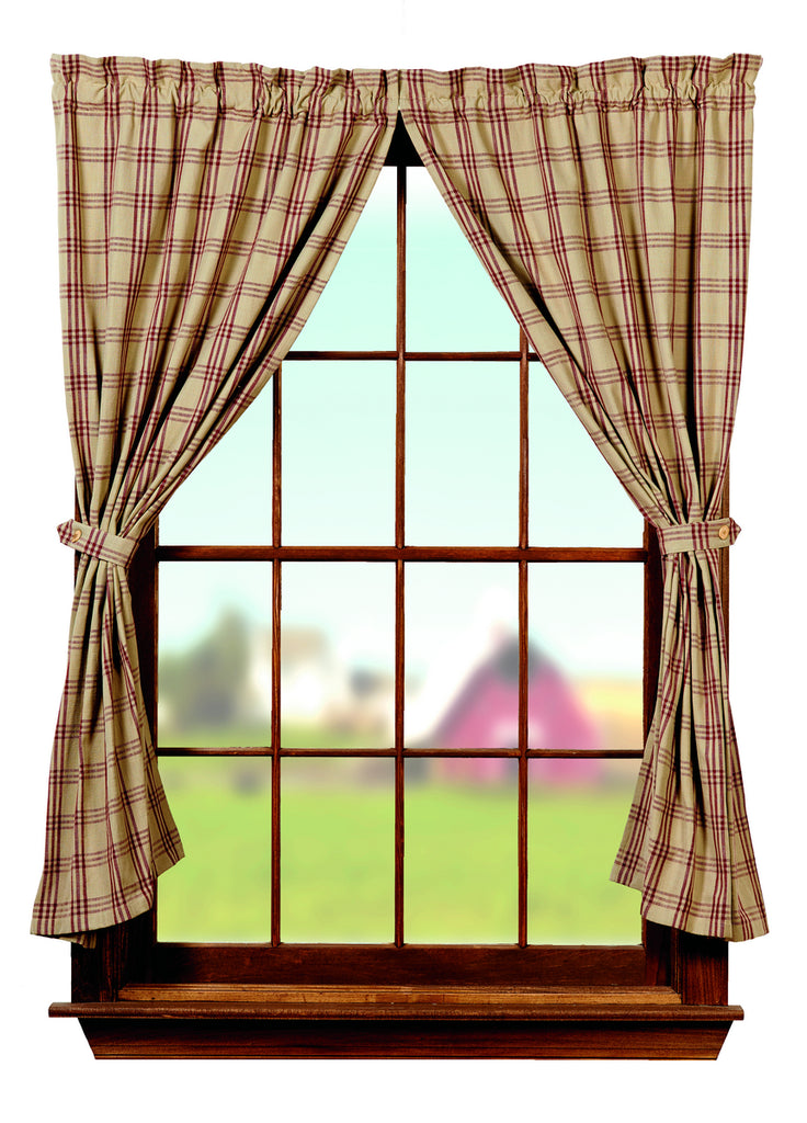 Cottonwood Red Short Panel Window Curtains Pair 72x63 Total 2 Inch Rod Pocket