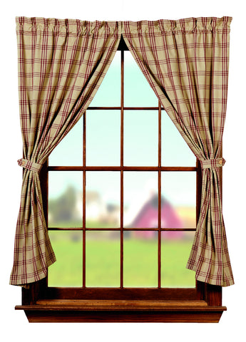 Cottonwood Red Short Panel Window Curtains Pair - 72x63 total - 2 inch rod pocket