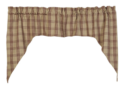 Cottonwood Red Swag Set Window Curtains Pair - 72x36 total - 2 inch rod pocket