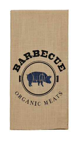 "Pig Sty ""Barbeque Organic Meats"" Dishtowel - Country Farmhouse Kitchen Funny Dish Towels"