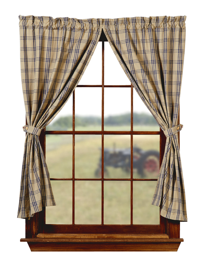 Cottonwood Blue Short Panel Window Curtains Pair - 72x63 total - 2 inch rod pocket