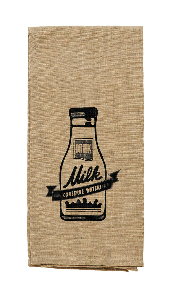"Cattle ""Drink Milk, Conserve Water"" Dishtowel"