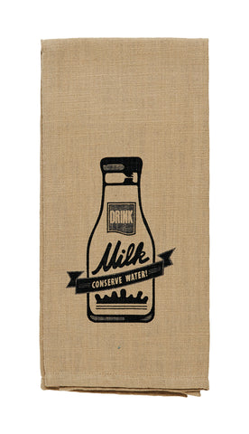 "Cattle ""Drink Milk, Conserve Water"" Dishtowel - Country Farmhouse Cow Kitchen Funny Dish Towels"