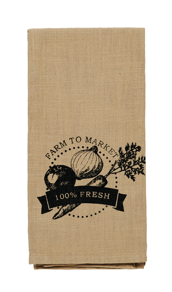 "Cattle ""Farm To Market"" Dishtowel - Country Farmhouse Kitchen Funny Dish Towels"